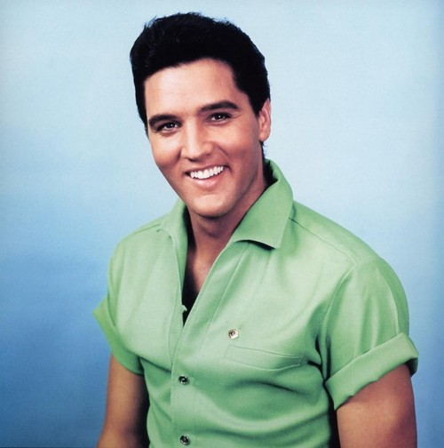 Elvis in a green shirt