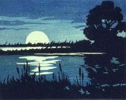 moonlight woodcut