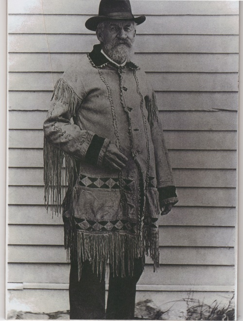An elderly John Simpson Hough wearing Kit Carson's hunting coat which he willed to John back in the good ol' days.