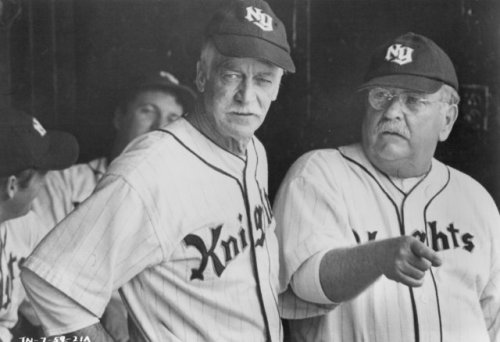 Farnsworth on the left with Wilford Brimley in the dugout.