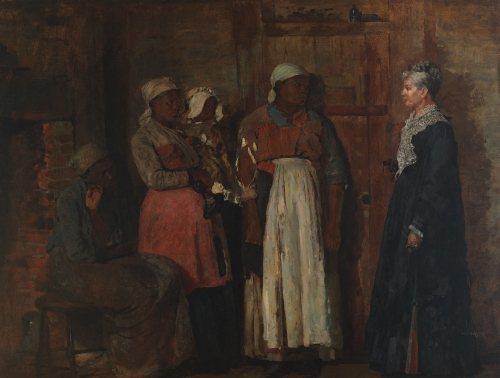 A Visit From the Old Mistress, which mirrors the composition of the Prisoners From the Front painting
