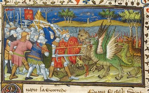Alexander fighting dragons, Le livre et la vraye hystoire du bon roy Alixandre, Paris, c. 1420–25