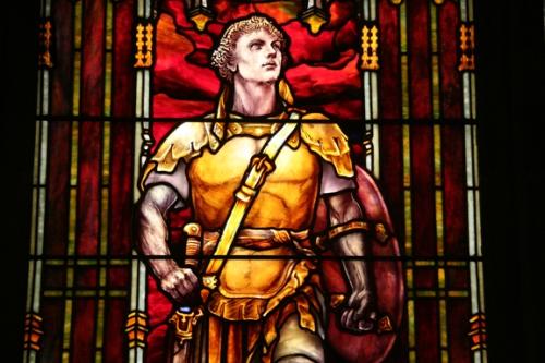 St. George window in the Princeton United Methodist Church by Tiffany Studio of New York City