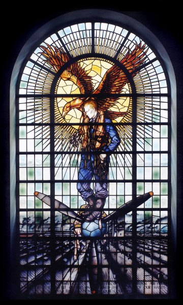 The Battle of Britain Memorial Window for Rolls-Royce, dedicated in 1947 in the Lady Chapel in Westminster Abbey