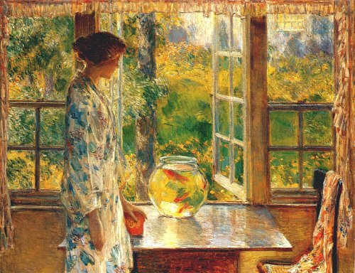 """Bowl of Goldfish"" by Childe Hassam"