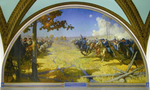 N.C. Wyeth mural of the Battle of Westport at the MO State Capitol
