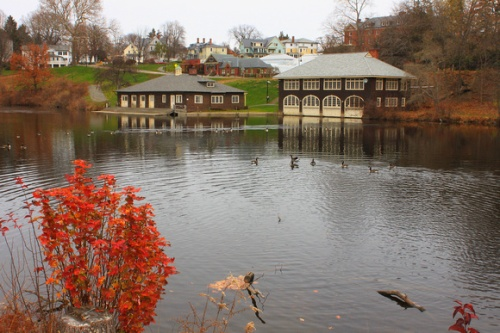 The boathouse on Paradise Pond at Smith College