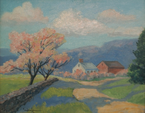 "Fred Ndercher, 1922, ""Spring Landscape"" in the St. Louis Mercantile Library collection"