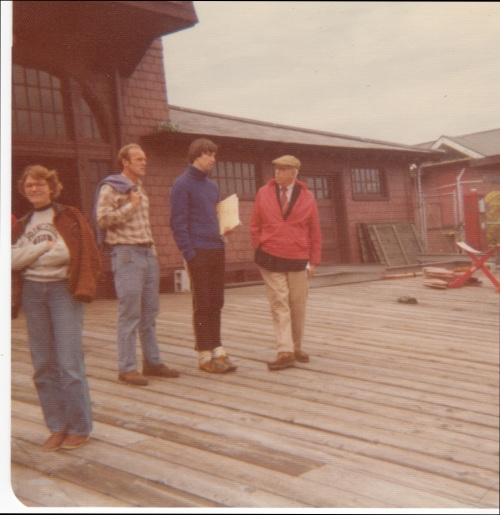TCM (in red jacket) with U.S. Olympic crew coach at the Newell Boathouse, Head of the Charles 1975