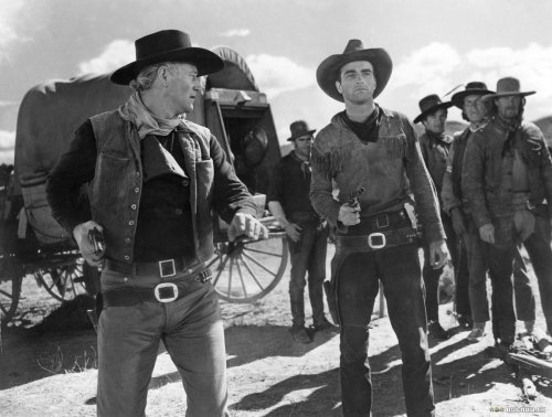 "John Wayne and Montgomery Clift in ""Red River"""