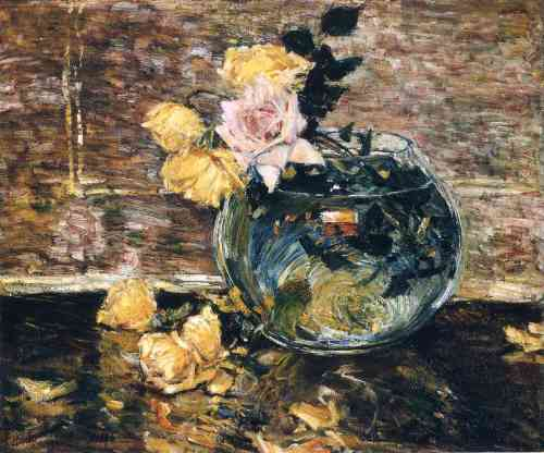 Roses in a Vase by Childe Hassam