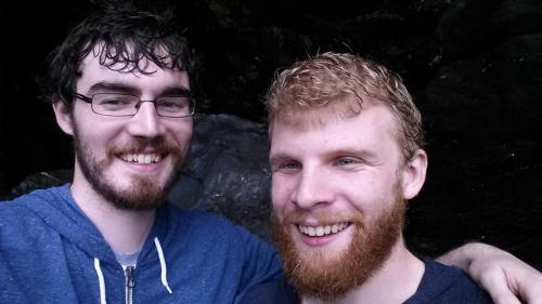 james and chris selfies in a cornish cave