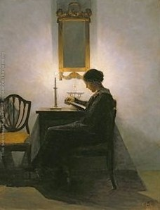 Peter Vilhelm Ilsted (Danish artist, 1861-1933) Woman Reading by Candlelight 2