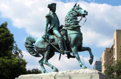 Equestrian statue of Gen. Washington in Washington D.C., executed by sculptor Clark Mills, and dedicated on February 22, 1860 by President Buchanan.