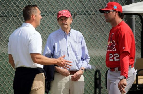 John Mozeliek, Bill DeWitt and Mike Matheny in Jupiter, FL (photo Steve Mitchell-USA TODAY Sports)