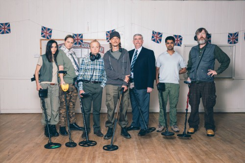 Programme Name: Detectorists series 2 - TX: n/a - Episode: n/a (No. n/a) - Picture Shows: Varde (ORION BEN), Louise (LAURA CHECKLEY), Lance (TOBY JONES), Andy (MACKENZIE CROOK), Terry (GERARD HORAN), Hugh (DIVIAN LADWA), Russell (PEARCE QUIGLEY) - (C) Channel X North/Treasure Trove/Lola Entertainment - Photographer: Chris Harris