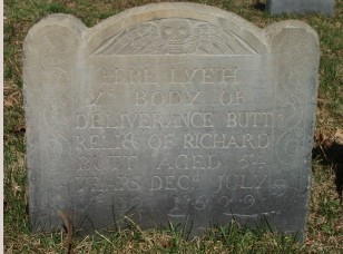 Deliverance's tombstone in the Dorchester (Boston) North Burying Ground
